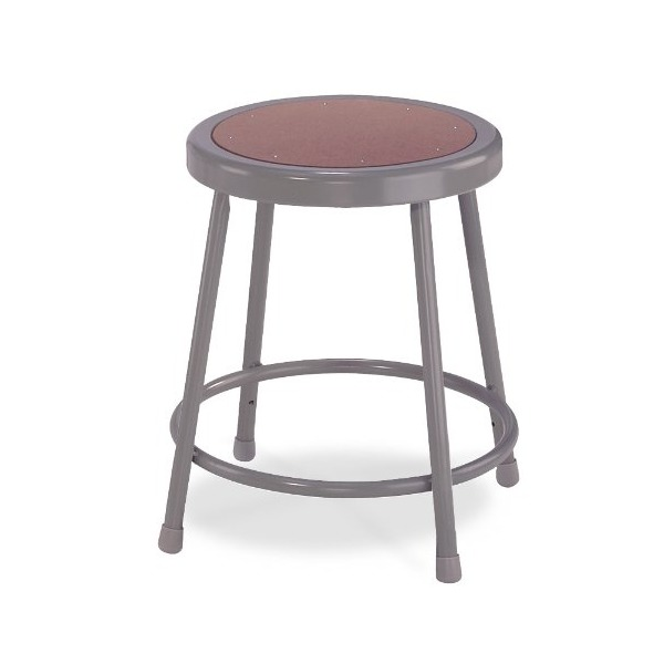 "National Public Seating 6218  Grey Steel Stool with 18"" Hardboard Seat"