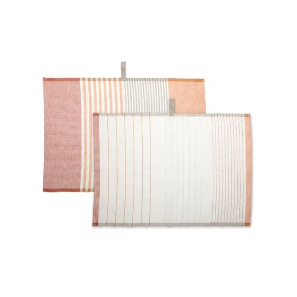 Teroforma Pastry Stripe Kitchen Towels Set of 2, Pumpkin Orange/Paprika Red (FFP)