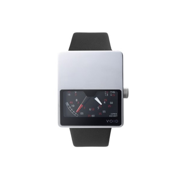 Void Watches: V02-PO/BL Polished Analog Watch With Black Leather Strap (V02-PO/BL)