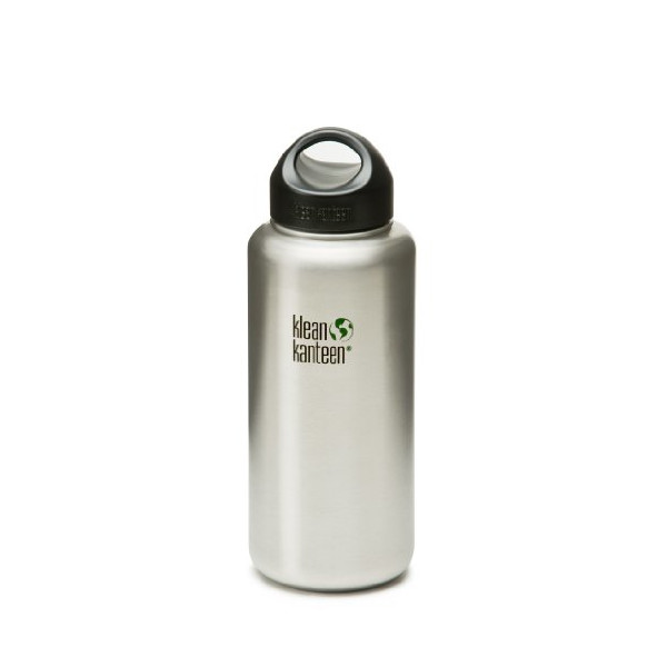 Klean Kanteen Wide Mouth Bottle with Stainless Loop Cap (Brushed Stainless, 27-Ounce)