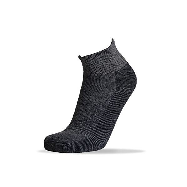 4pairs 34% Merino Wool Heather Charcoal Black Quarter Socks