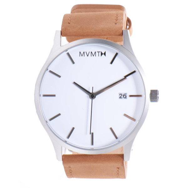 MVMT Watches White Face with Tan Leather Strap Watch