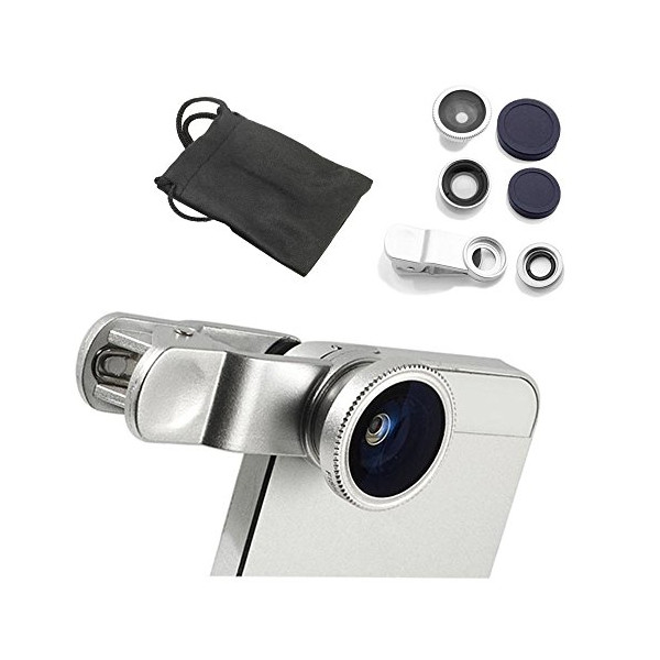 YOPO® 1 Set Silver Universal 3 in 1 Fisheye-Lens + Wide Angle + Macro Lens Clip Camera Photo Kit For Smart Phones (Including Iphone, Samsung Galaxy, Htc, Motorola and More), Tablets, Ipad, and Laptops+ One Microfiber Carrying Bag