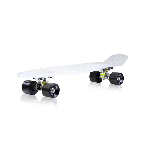 EightBit 22 Inch Complete Skate Board - Retro Skateboard - Bone/Ninja