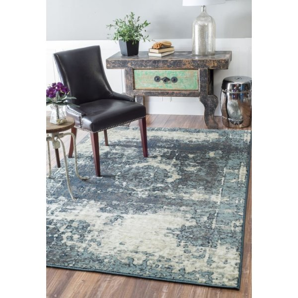"Traditional Vintage Inspired Overdyed Fancy Grey Rug, (5' 3"" x 7' 8"")"