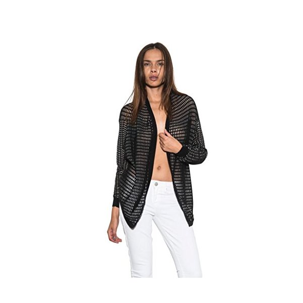 Women's Hi-Lo Jesse Bolero Open Front Cardigan Spring Black By One Grey Day-L