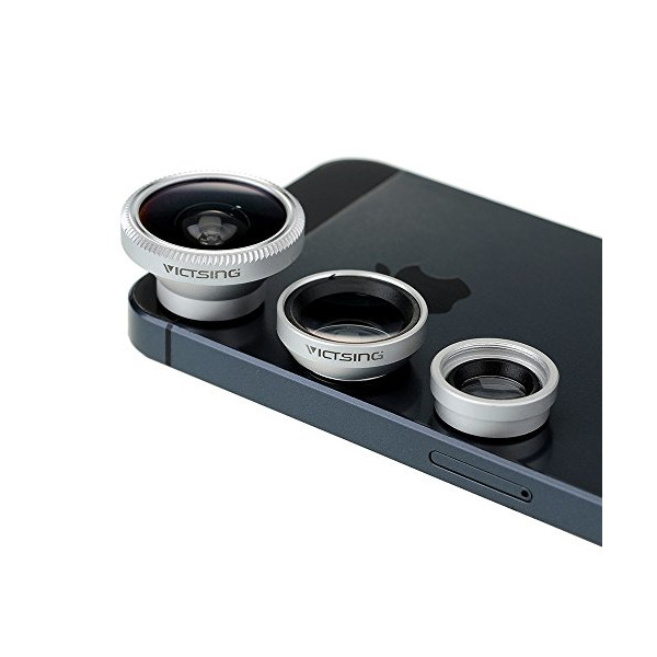 [New Silver One] VicTsing® 180° Fish-Eye Lens+Wide Angle Lens+Micro Lens 3-in-1 Magnetic Easy-Use Camera Lens Kits (Silver) for iPhone 5 5C 5S 4S 4 3GS iPad mini iPad 4 3 2 Samsung Galaxy S4 S3 S2 Note 3 2 1 Sony Xperia L36h L36i HTC ONE Phones with Flat
