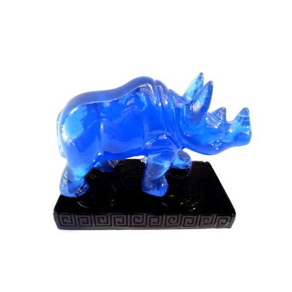 Feng Shui Blue Double -Horn Rhinocero to Anti Burglary