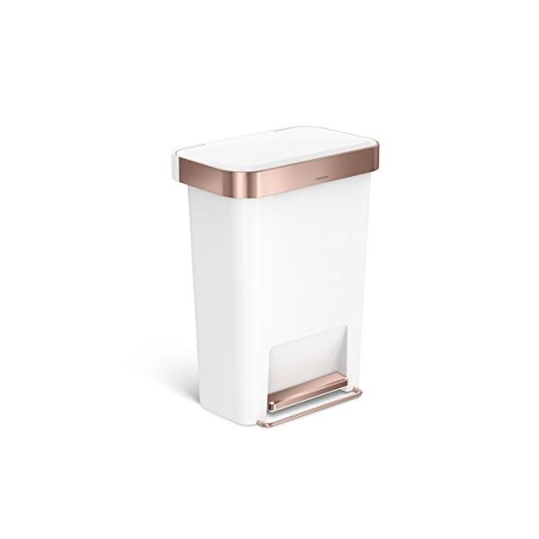 simplehuman Rectangular Step Can with Liner Pocket, 45 L/11.9 gallon (White Plastic w/ Rose Gold)