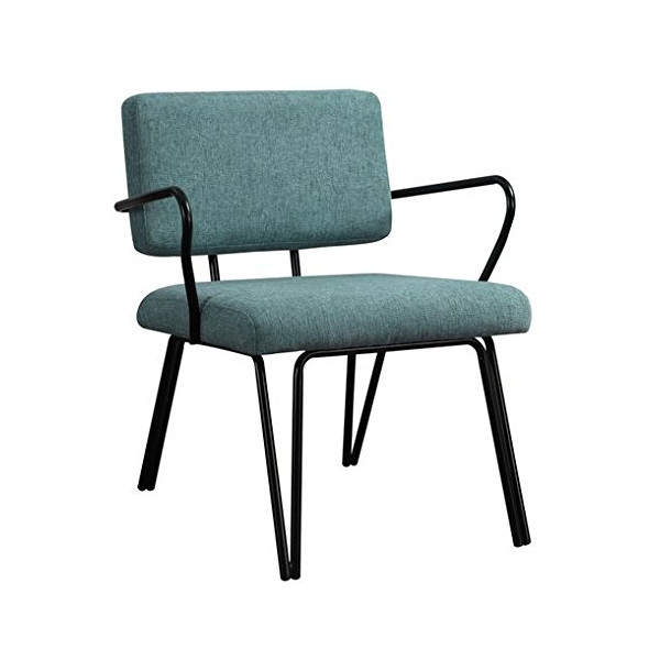 Aqua Blue Retro Upholstered Fabric Mid-century Accent Chair