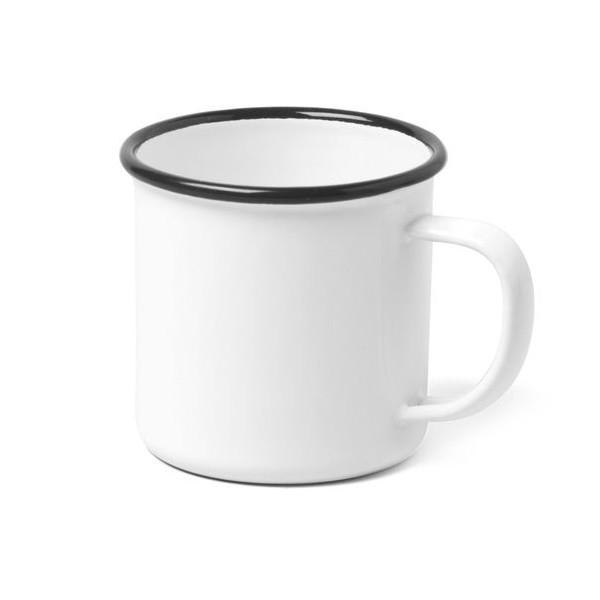 Enamelware Mug, Vintage White with Black Rim, Set of 4
