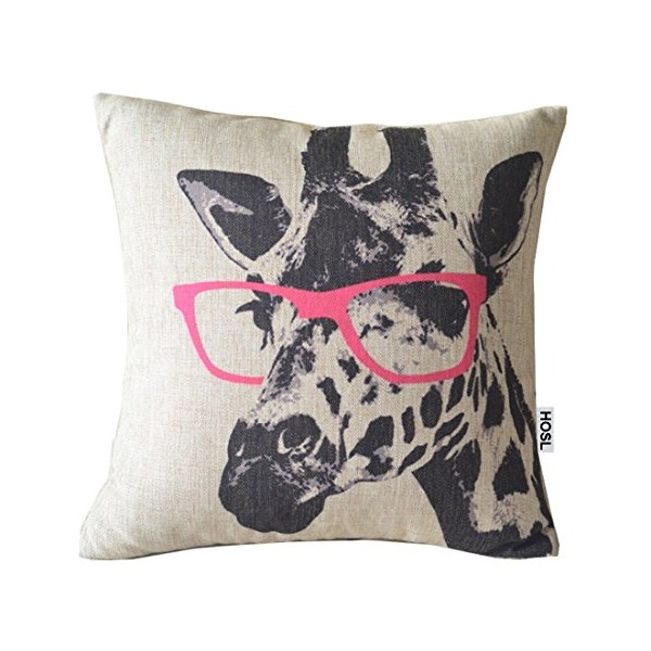 HOSL Giraffe wearing Pink Glasses Cotton Linen Square Decorative Throw Pillow Case Cushion Cover 17.3*17.3 Inch(44CM*44CM)