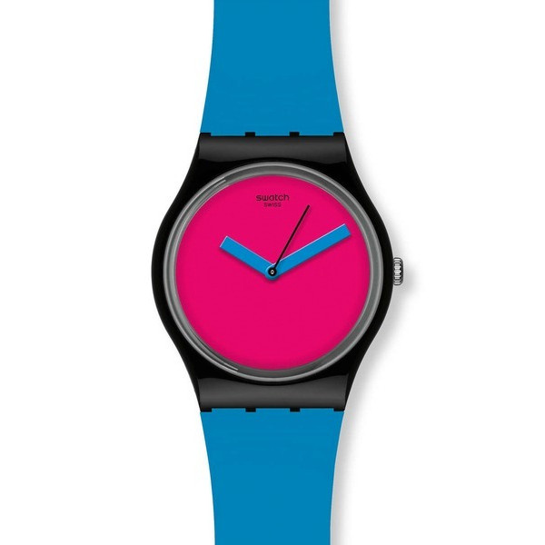 Swatch Bicoloured Pink Dial Blue Plastic Unisex Watch