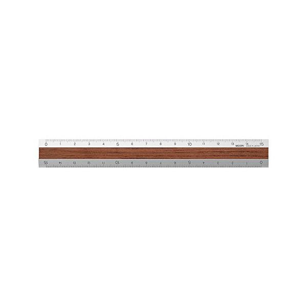 Midori Aluminium + Wood Ruler 15cm Dark Brown (42258006)