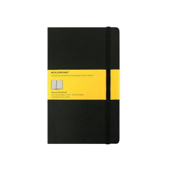 Moleskine Classic Hard Cover Large Squared Notebook (5 x 8.25)