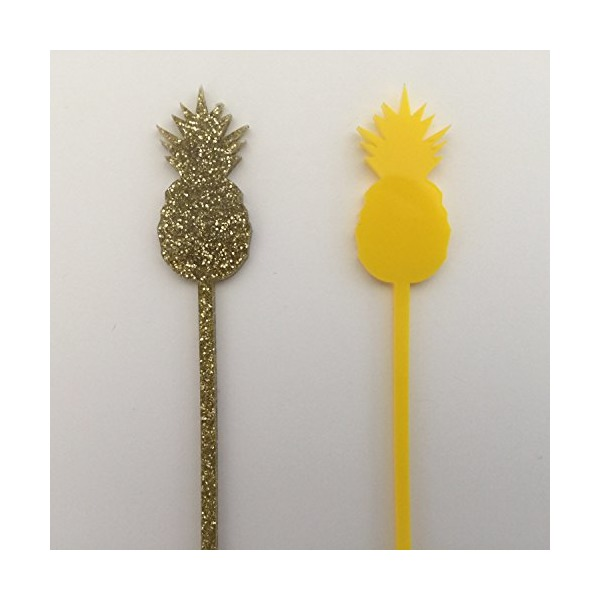 Pineapple Gold Glitter Drink Stirrers - Set of 6 Laser Cut Acrylic Stir Sticks