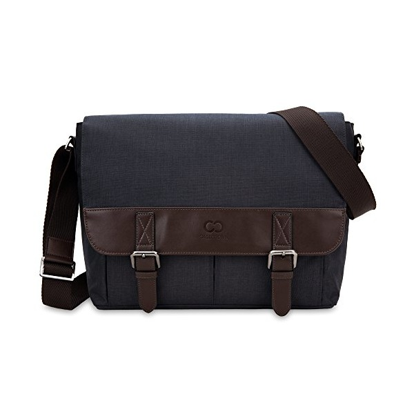 13 Inch MacBook Air / Pro Laptop CaseCrown Haverford Messenger Bag (Denim Navy Blue / Brown)