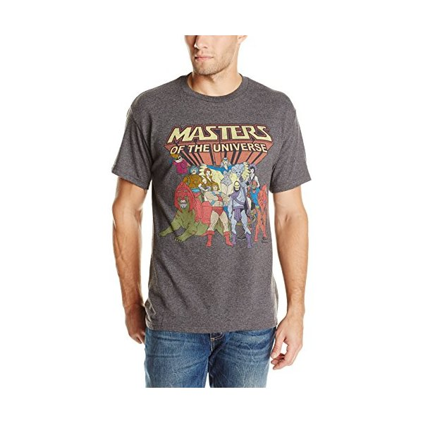 Men's He-Man Masters Of The Universe Family Group Vintage Tee, Charcoal Heather, Large