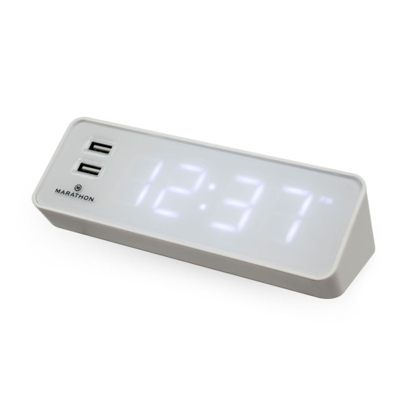 Marathon LED Alarm Clock with Two Front Facing USB Ports
