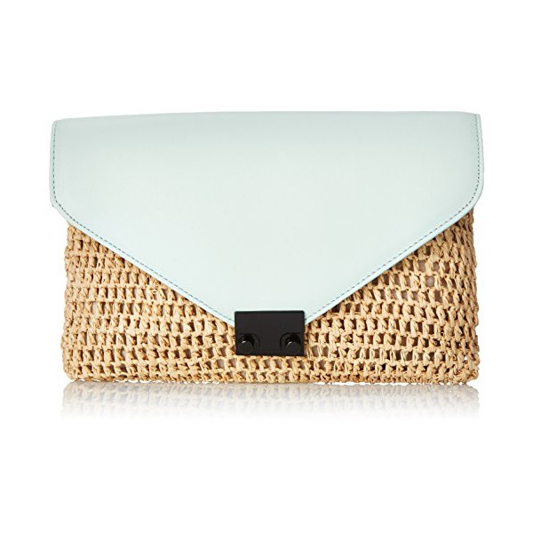 LOEFFLER RANDALL Lock Clutch, Natural/Mint, One Size