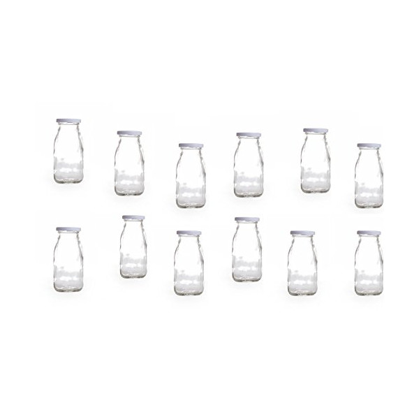 12-pack Vintage Milk Glass Bottles, 8-oz with White Metal Twist Lids