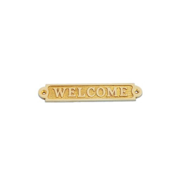 "Hampton Nautical  Solid Brass Welcome Sign, 5"", Brass"