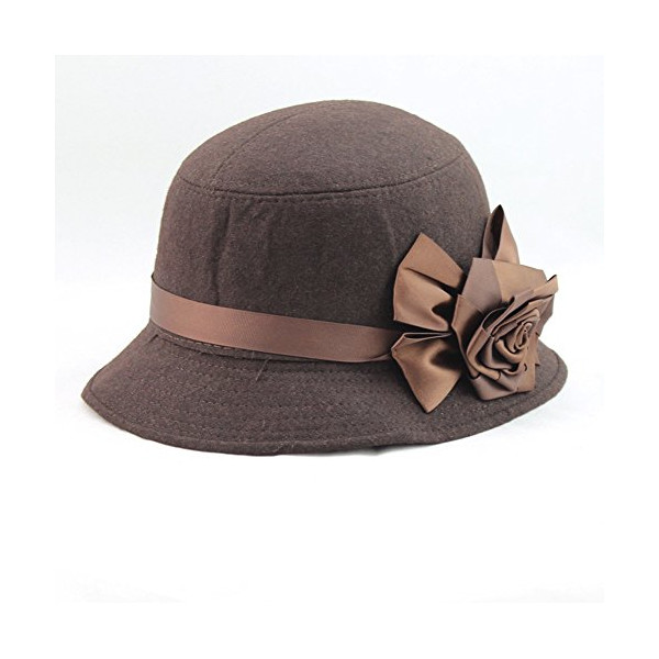 Abody Fashion Elegant Women Ladies Fedora Cloche Flower Rose Bucket Hat Headwear Coffee