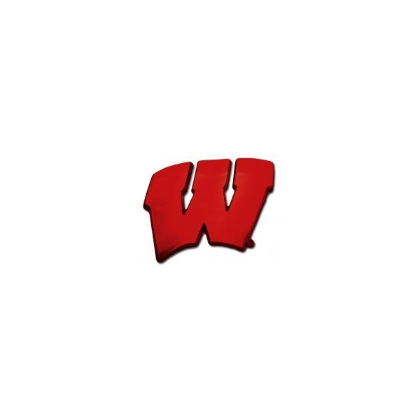 "University of Wisconsin Badgers ""W"" Red Logo NCAA College Chrome Plated Premium Metal Car Truck Motorcycle Emblem"