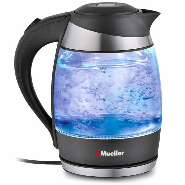 Electric Kettle Water Heater with SpeedBoil Tech, Glass Tea, Coffee Pot 1.8 Liter Cordless with LED Light, Borosilicate Glass BPA-Free with Auto Shut-Off and Boil-Dry Protection