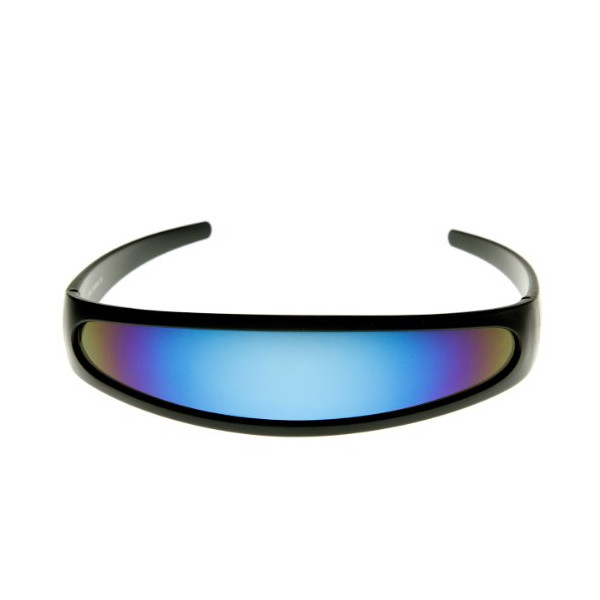 Futuristic Narrow Cyclops Color Mirrored Lens Visor Sunglasses (Black Ice)
