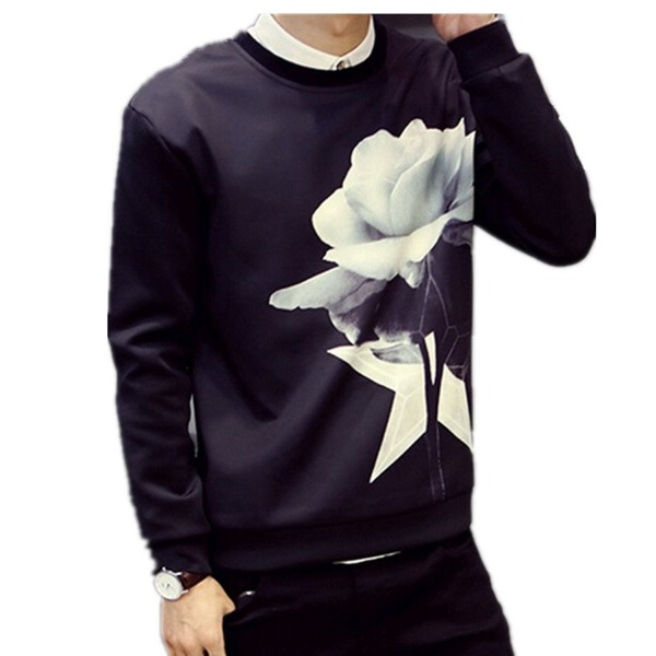 Krralinlin Mens Cool Floral Printing Crewneck Sweatshirts Pullover(Black,White)