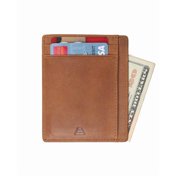 Andar Leather Slim Minimalist Wallet with RFID Blocking, Full Grain Leather, Caramel Tan