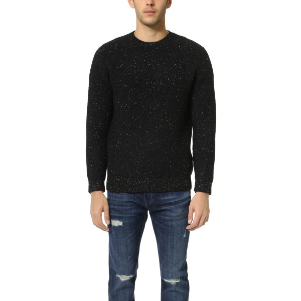 Steven Alan Men's Heavy Crew Neck Sweater, Black, Medium