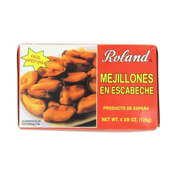 Roland Marinated Mussels, 4.38-Ounce Cans (Pack of 5)