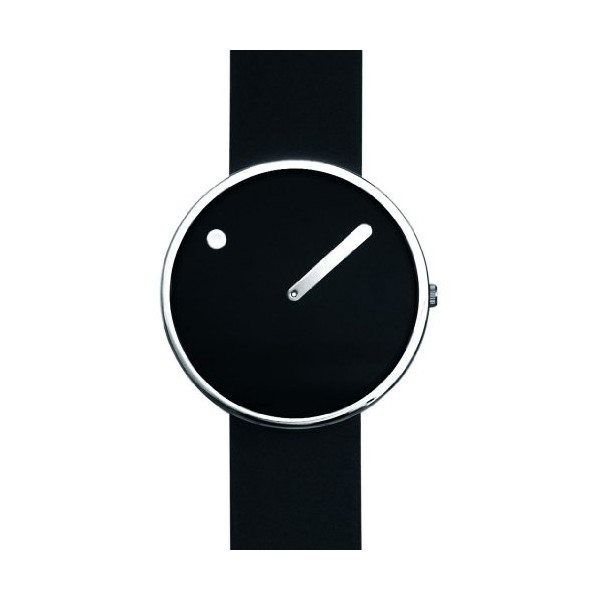 "Rosendahl Picto Watch Black With Polished Steel Case (1.6"" Dia.)"