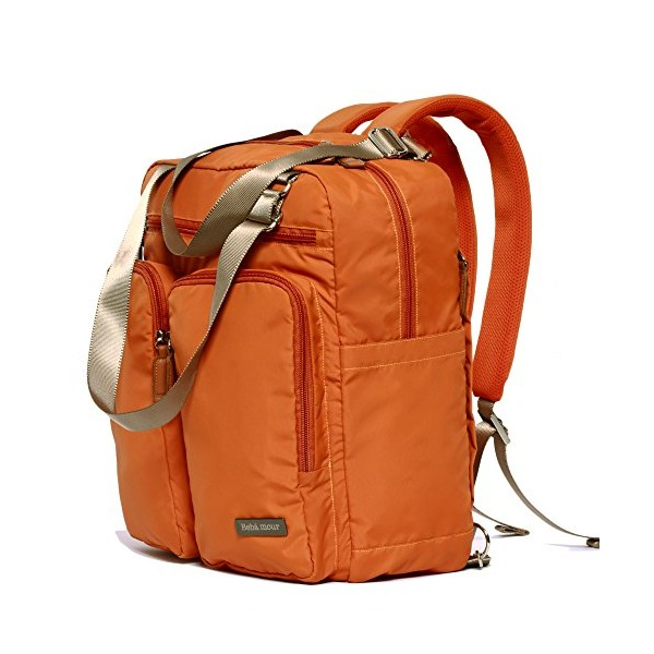 Bebamour Travel Backpack Diaper Bag (Orange)