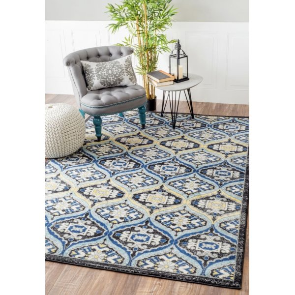 "Contemporary Trellis Vintage Dark Blue Rug, (5' 3"" x 7' 9"")"