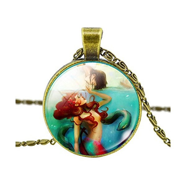 DaisyJewel Vintage Little Mermaid in Dangerous Waters Pendant Necklace with Scroll Chain