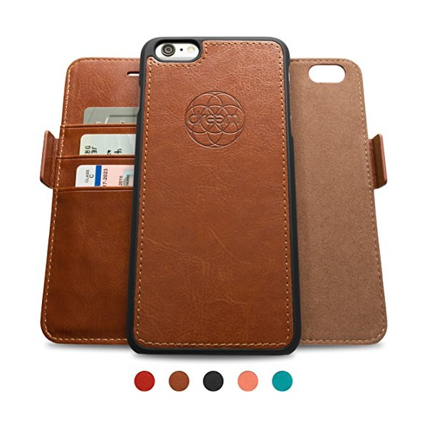Dreem iPhone 6/6s Case with Detachable Wallet Folio, 2 Kickstands, Gift Box, Premium Vegan Leather, Fibonacci Series, Brown