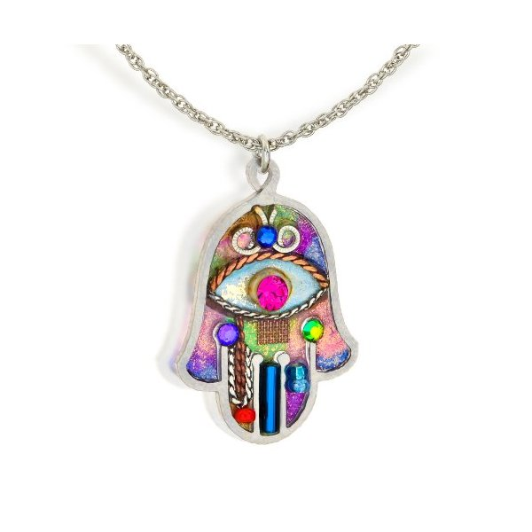 Seeka Vibrant Hamsa Necklace to Protect from the Evil Eye, by The Artazia Collection N0380