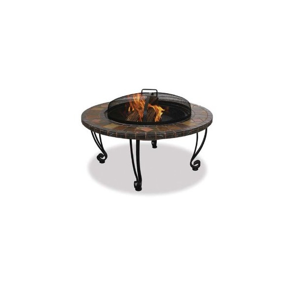 "Uniflame WAD820SP Slate / Marble Endless Summer Endless Summer 34"" Wide Outdoor Fireplace with Slate Mantel with Copper Accents"