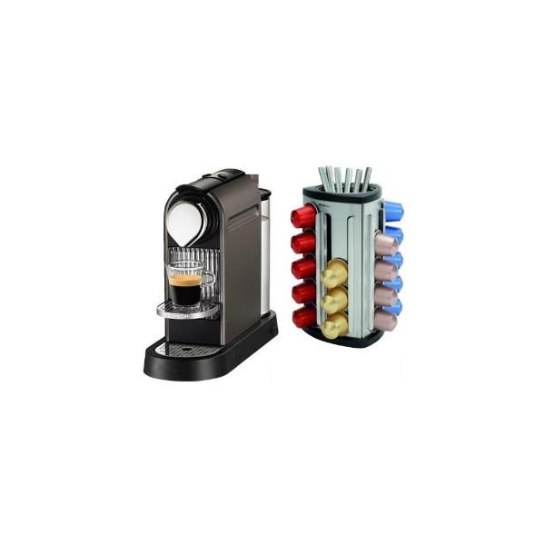 Nespresso CitiZ Titan Gray Automatic Espresso Maker with Bonus 30 Capsule Carousel