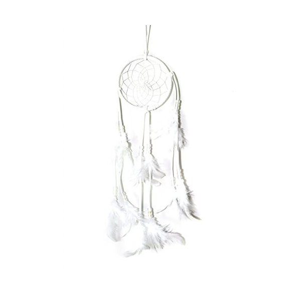 "White Dream Catcher with Feathers Wall or Car Hanging Ornament Approx 4.3"" Diameter 17"" long"