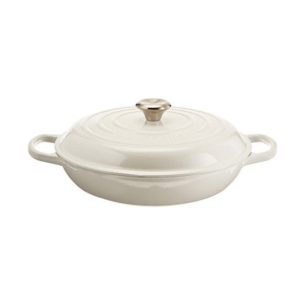 Le Creuset Signature Enameled Cast-Iron 3-3/4-Quart Round Braiser, White