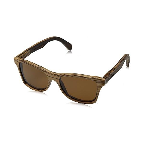 Shwood Canby WOCZGP Polarized Wayfarer Sunglasses,Zebrawood,54 mm