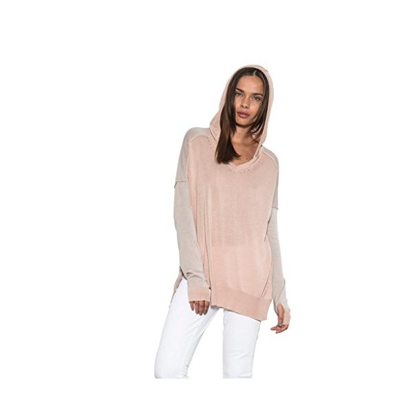 Women Long Sleeve Colbi Hoodie Modal Knit Light Sweater Tan By One Grey Day-L
