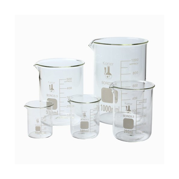 213A2 Karter Scientific Low Form Glass Beaker 5 Piece Set 50, 100, 250, 500, & 1000ml