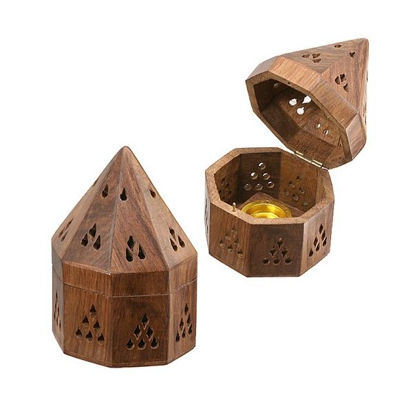 "5"" Temple Wooden Charcoal/Cone Burner"
