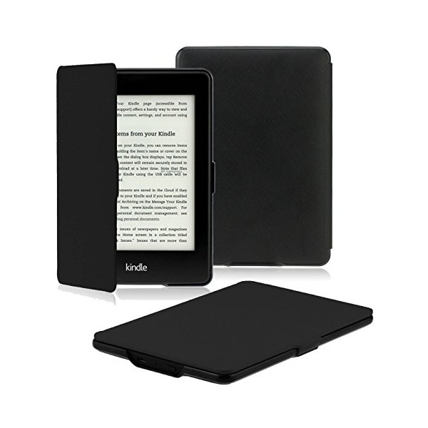 "OMOTON Amazon Kindle Paperwhite Case Cover -- The Thinnest and Lightest PU leather Case Cover for Kindle Paperwhite (Both 2012 and 2013 versions with 6"" Display and Built-in Light), Black"