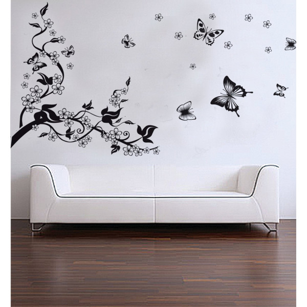 Princess Dream Home removable recycling wall sticker decals black tree black butterfly with white flowers